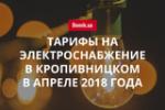 Цены на электричество в Кропивницком в апреле 2018 года