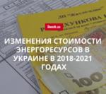 На сколько повысится стоимость энергоресурсов в Украине в 2018-2021 гг.: прогноз Минэкономразвития